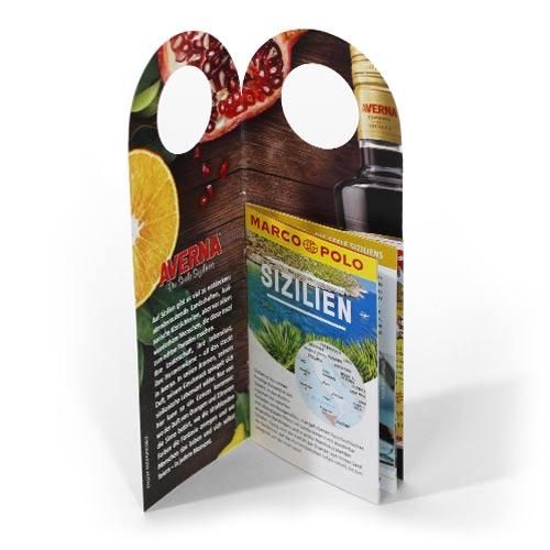 Flaschenanhänger mit Sizilien Reiseführer präsentiert von Averna