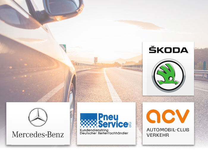 Skoda Mercedes Pneu Service ACV ACE Logos